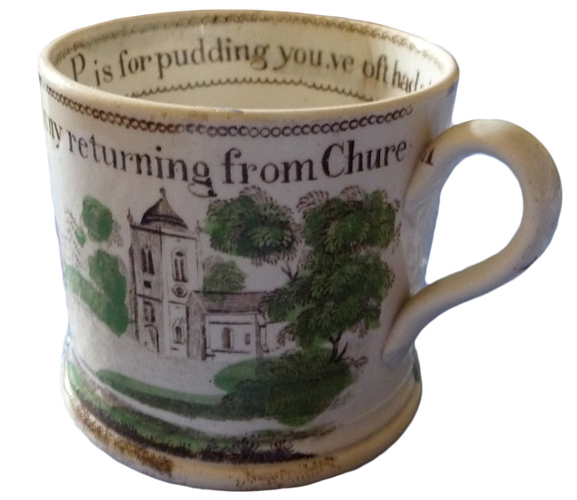 "Miller says she likes to imagine the little girl who probably hand-painted this English pearlware cup, who misjudged her spacing when painting the words, ""F is for Fanny returning from Church."" Notice the ""h"" on the handle."