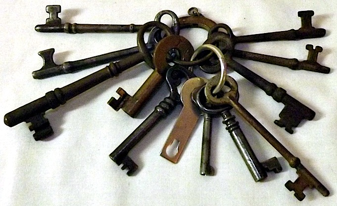Most skeleton keys are really bit or barrel keys, such as all but the flat one at bottom-center shown here.
