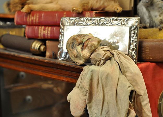 This Punch puppet looks eerily decrepit among the books and other antiques offered at Obscura. Via the Discovery Channel.