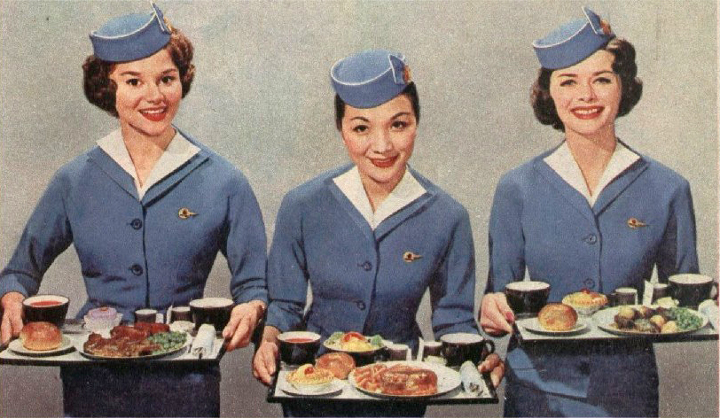 This is what dinner in economy class looked like on Pan Am in the 1960s.