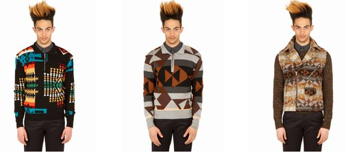 This screen grab from the Opening Ceremony web site shows a model in three different Pendleton sweaters, all over $500.