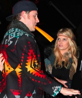 "Jessica Simpson and fiance Eric Johnson sport the ""native look."" Via UpscaleHype.com"