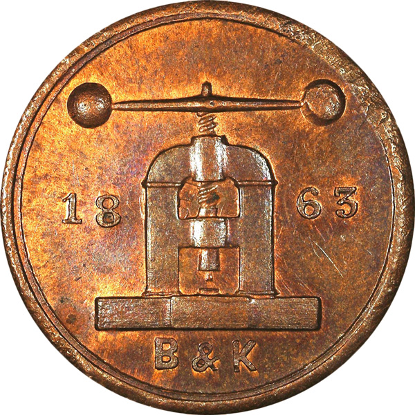 "Coins and tokens are referred to as being ""struck"" even though they are made on a coining press, which was the subject of this token."