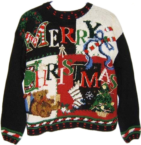 a classic quilt pattern or handwoven letters reading merry christmas would fit you perfectly cute christmas tree reindeer or present patterns would - Classic Christmas Sweaters