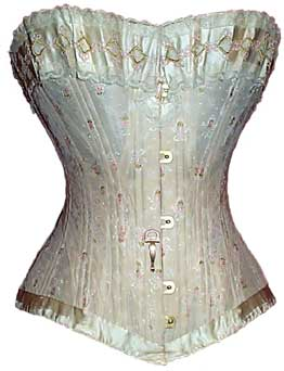 Madame Lemay silk damask corset, circa 1901. From the collection of M. Talkington, laceembrace.com, via The Antique Corset Gallery.
