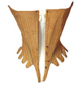A hand-made cone-shaped stay corset from circa 1786. From the collection of K. Augusta, antique-fashion.com, via The Antique Corset Gallery.