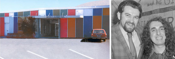 Above left: In the mid-1960s, Bill Quarry promoted local and international acts alike at Rollarena on East 14th Street in San Leandro. Above right: Bill Quarry (left) with Tiny Tim.
