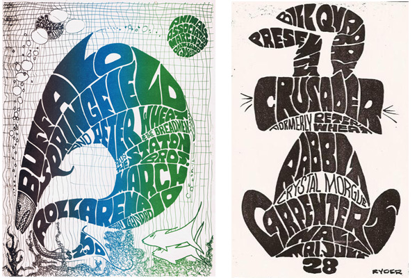 Like Wes Wilson, Don Ryder used hand-drawn lettering to create the shapes that filled his posters.