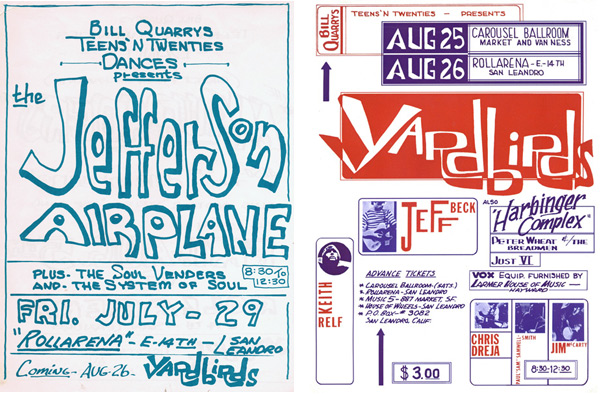 Above left: San Francisco rock promoter Bill Graham didn't like it when Bill Quarry produced a Jefferson Airplane concert at Rollarena. Above right: Less than two years after Quarry presented the Yardbirds at the Carousel Ballroom, Bill Graham had moved in and renamed it Fillmore West.
