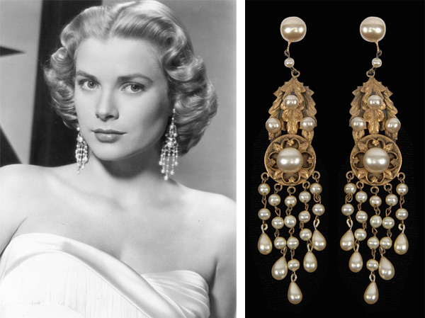 "Grace Kelly wore Joseff of Hollywood chandelier earrings in 1956's ""High Society"""