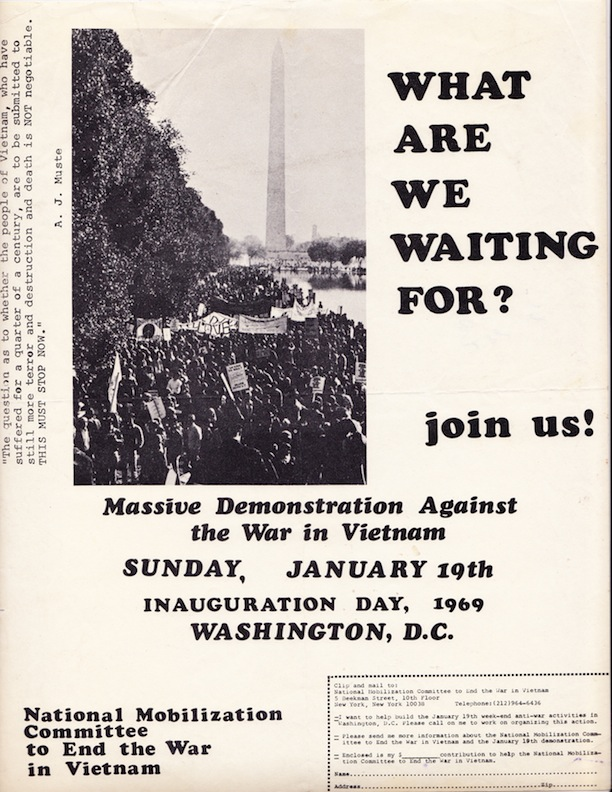 An anti-war protest march greeted President Richard Nixon on inauguration day.