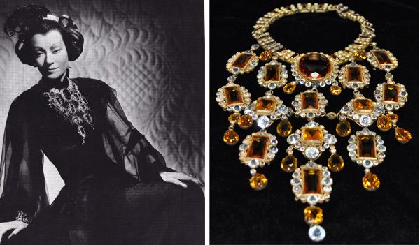 "The ""most spectular necklace in the world,"" a giant ""topaz"" bib worn by Ona Munson in 1941's ""Shanghai Gesture."""