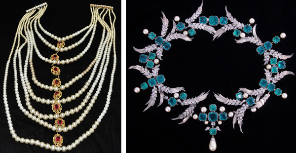"At left, the giant nine-strand faux pearl necklace worn by Bette Davis in 1939's ""The Private Lives of Elizabeth and Essex."" At right, the choker Greta Garbo refused to wear for 1936's ""Camille."""