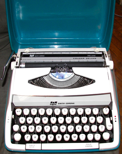 The sleek white typewriter comes in a bright teal case that's stylish enough to catch Don Draper's eye.