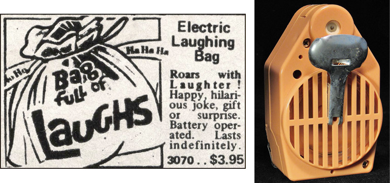"The Bag Full of Laughs has a mechanical laughing device, at right, inside it. Images via ""Mail-Order Mysteries."""