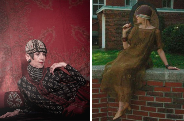 On the left, Salamon compliments her Gaultier cardigan with  '20s Turkish needlepoint skullcap for a boyish look. On the right, she does feminine in all '20s clothes for the Jazz Age Lawn Party at Governors Island.