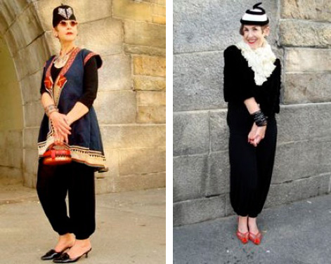 Left, the long vest is an adapted Armenian jacket, and the fez adorned with glass beads is a flea-market find. Right, a black velvet jacket is accessorized with a Victorian ruffle scarf, jet jewelry, a 1930s hat, and coral Bottega Veneta shoes.