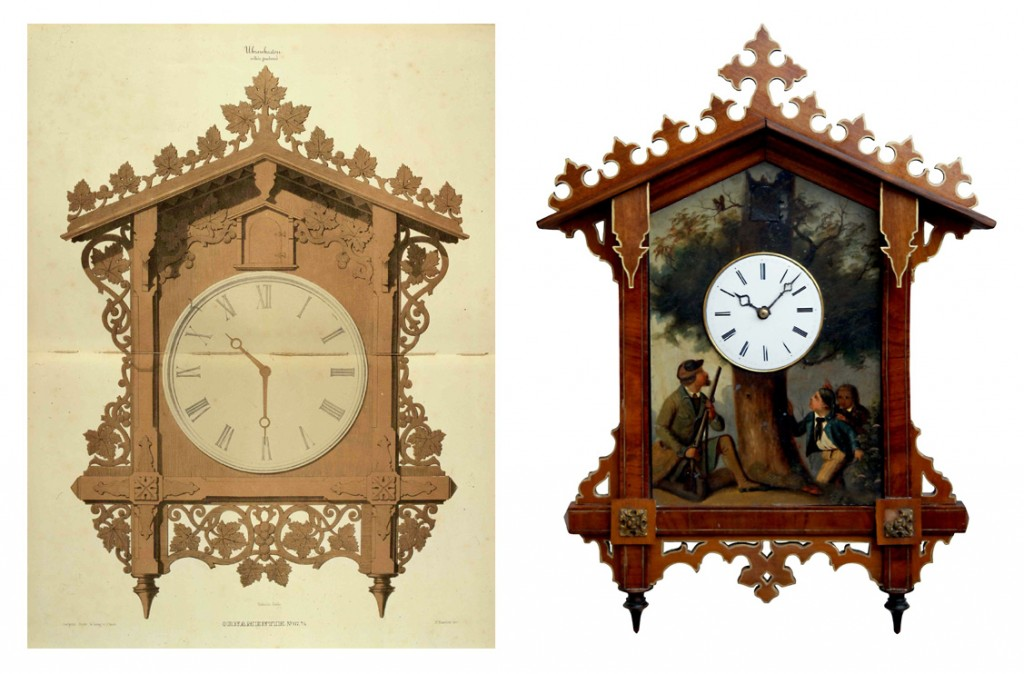"A lithographed image of Friedrich Eisenlohr's original ""Bahnhäusle"" design from 1850-51 (left) and a painted cuckoo made by Fidel Hepting in Furtwangen in 1859 (right)."