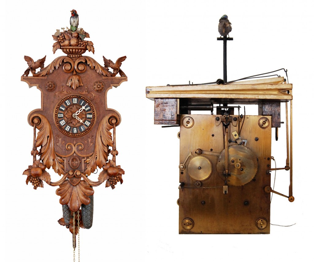 A fully animated singing-bird clock made by Emilian Wehrle & Co., circa 1875, and a solid brass-plate three-train movement, designed by Samuel Kammerer.