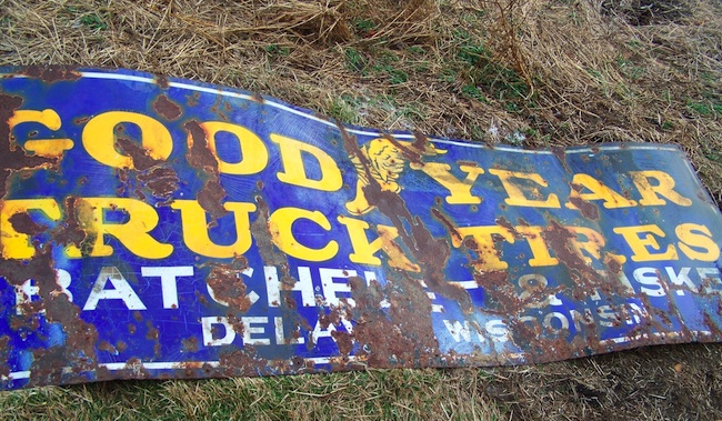 Robert's dad helped him pull this old porcelain Goodyear sign out of the ground in Coshocton, Ohio.