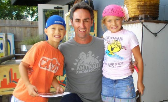 """American Pickers"" star Mike Wolfe poses with two young aspiring collectors. Via his Facebook page."