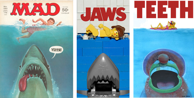 "Roger Kastel's ""Jaws"" image has been a rich source of good-natured parody."