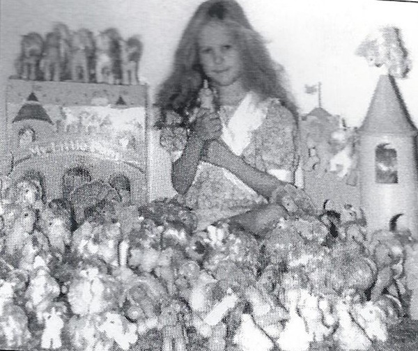 Summer Hayes in a family snapshot with her My Little Pony collection, 1987.