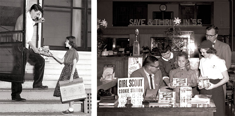Two images from 1955 show the Girl Scouts in action, selling cookies door to door and in small businesses.