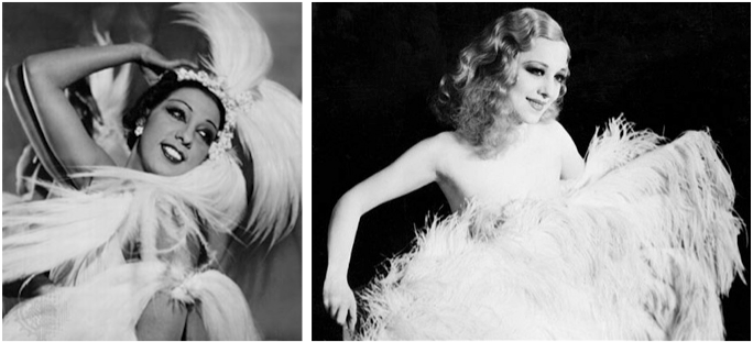 Josephine Baker (left) and Sally Rand, two big names in 1930s burlesque, have influenced Von Teese.