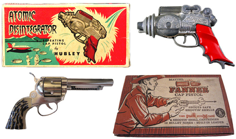 "Top, ""The Lone Ranger"" and ""Tom Corbett Space Cadet"" comic book covers from 1948 and 1954, respectively. Above, Hubley's Atomic Disintegrator ray gun and Mattel's Shootin' Shell cap pistol from the 1950s."
