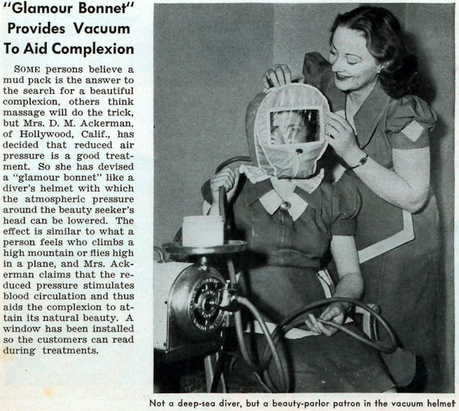The 1941 Glamour Bonnet was supposed to improve your complexion by reducing the air pressure around your face. Via ModernMechanix.com.
