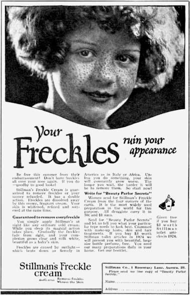 The active ingredient for Stillman's Freckle Cream was mercury. Via ComesticsandSkin.com.