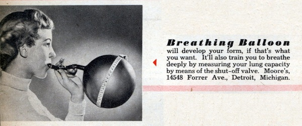 "In 1949, the Breathing Balloon promised to help you ""develop your form."" Via ModernMechanix.com."