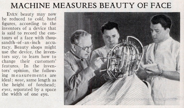 Max Factor (left) and his assistants analyze a woman's face in 1933. Via ModernMechanix.com.