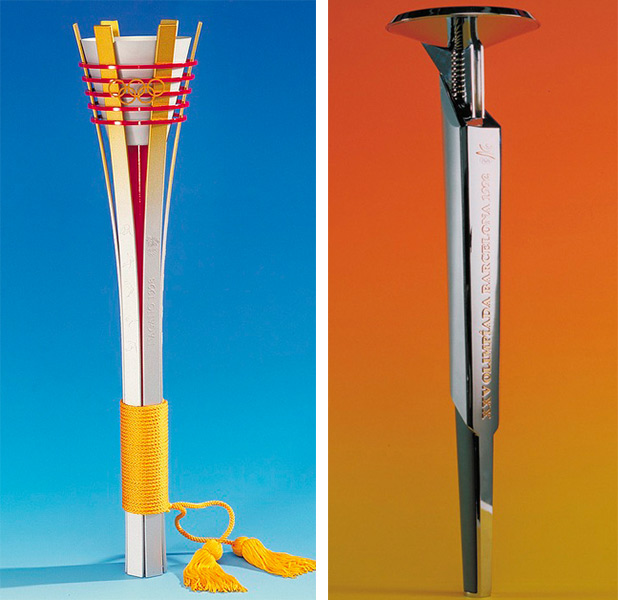 The 1998 Nagano torch, with its handle wrapped in yellow thread, was based on a traditional Japanese torch. The 1992 Barcelona torch, created by industrial designer André Ricard, was part of the Games' overarching design scheme. Copyright International Olympic Committee.