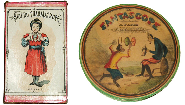 Above left: The Game of Thaumatrope, published by Mauchair Dacier, Paris, c. 1891. Above right: This French Phenakistoscope called The Fantascope, c. 1840, used the discs shown at top.
