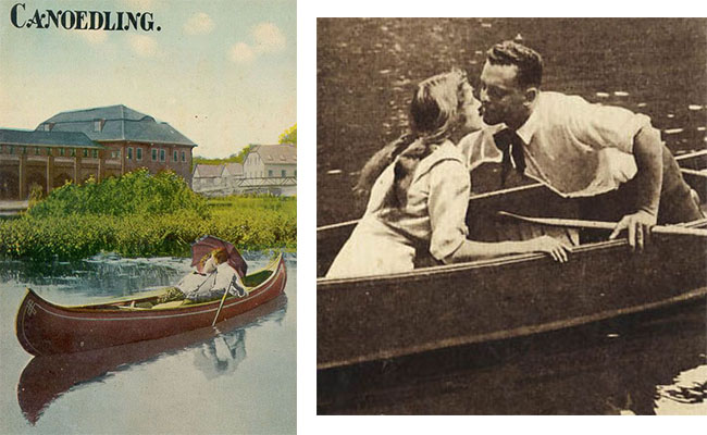 "Two postcards from the early 1900s capitalize on the popularity of scandalous ""canoedling,"" though the word most likely evolved from the German term ""knuddeln,"" meaning ""to cuddle."" Left image courtesy Benson Gray."