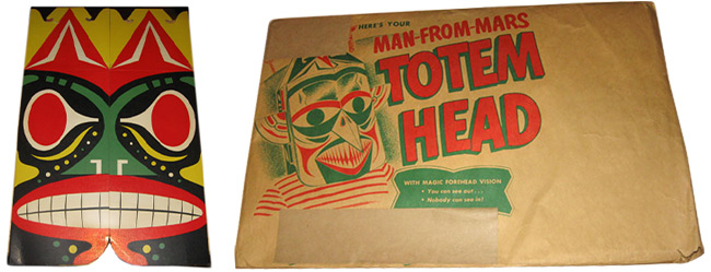 "This '50s-era ""Martian Totem Head"" cereal premium conflated Native American imagery with aliens."
