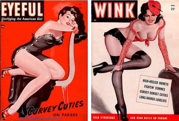Pin-up paintings by Peter Driben, published on the covers of Eyeful and Wink magazines.