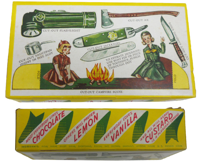 The back of this 1951 cookie box features a cut-out campfire scene along with images of the tools scouts could earn. Many leaders used this cardboard knife for their safety trainings. Courtesy Ellen DeMaio.