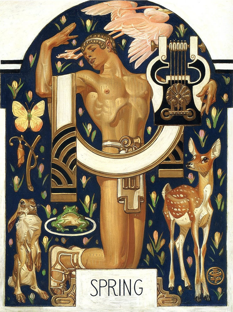 This art-deco styled illustration shows Spring represented as a Greek-inspired god.