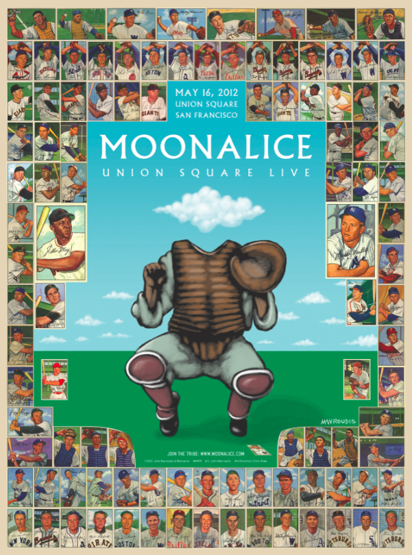 This poster for a 2012 Moonalice show features reproductions of the entire Bowman 1952 set of baseball cards.