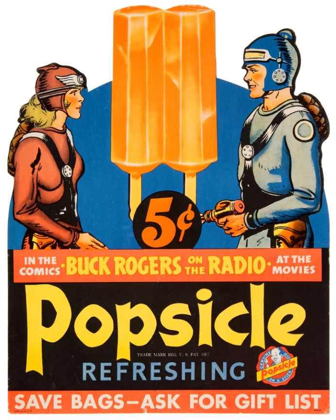 At the height of the Depression, Popsicle introduced a two-stick version of its frozen novelty, which was first introduced as a one-stick treat (see image at top).