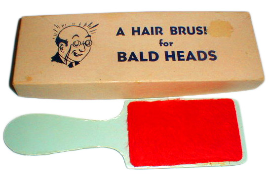 "The ""Hair Brush for Bald Heads"" is one of the few gag boxes still made by Fun Inc., the company that bought H. Fishlove and Co."
