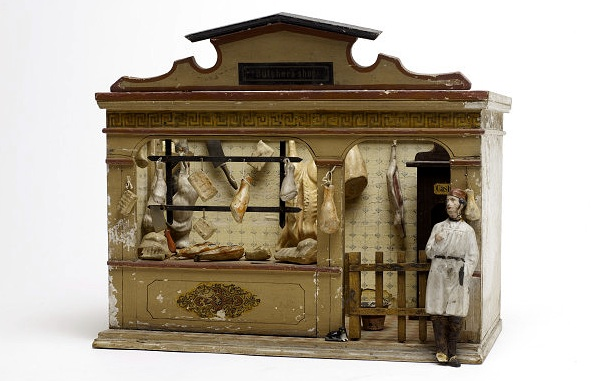 This 1900 model butcher shop, featuring wild boar, however, was made by esteemed German toymaker Christian Hacker and definitely intended for children. From the Victoria and Albert Museum collection.