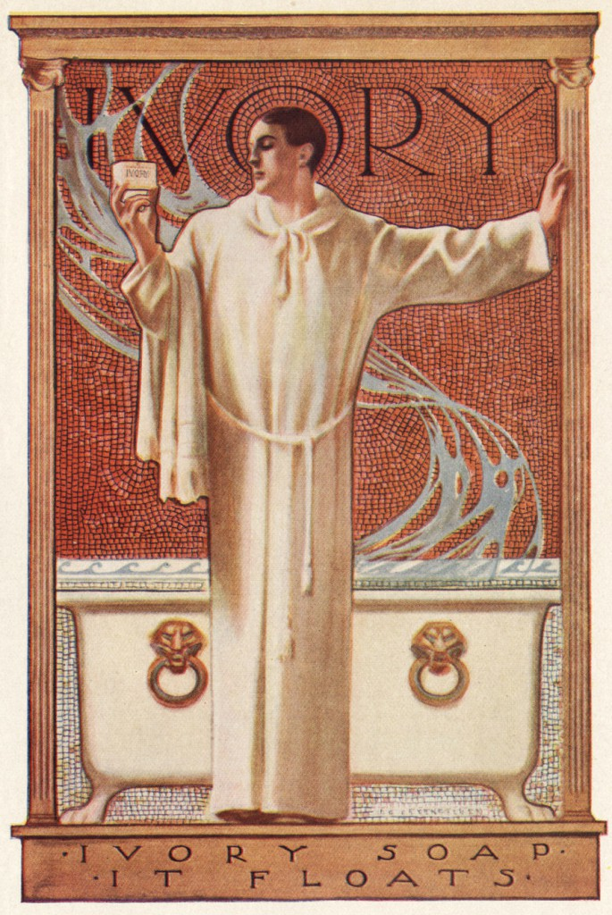 This atypical Ivory Soap advertisement from 1922 featured a priest.