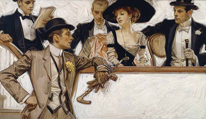 In this Leyendecker painting for Arrow dress shirts, all eyes lead to the puts the focus on the standing man.