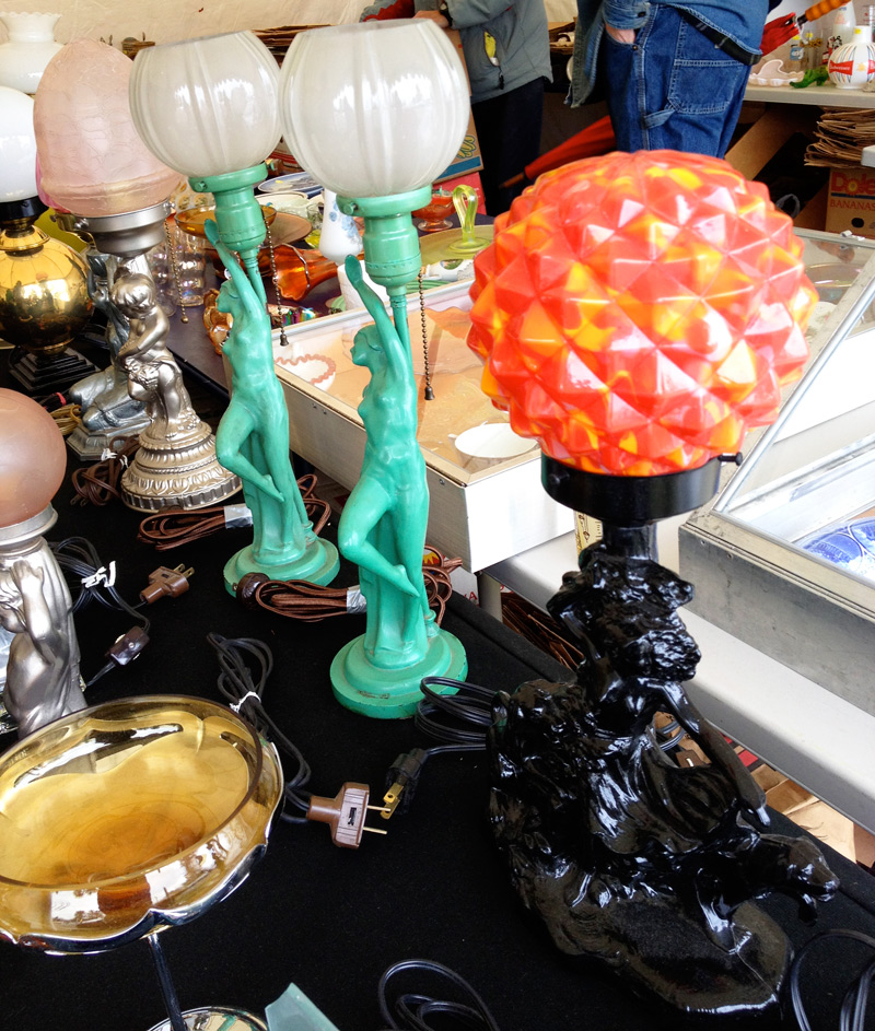 Art Deco lamps at a booth in Brimfield. Photo by Joanna Mangan.