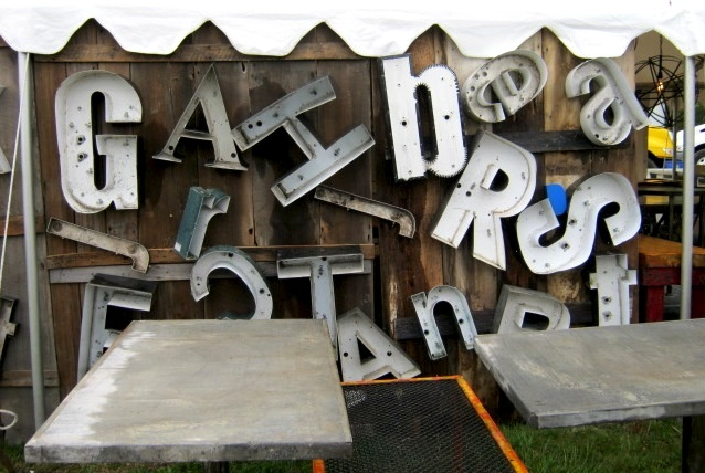 Letters from old lighted signs at the May Brimfield. Photo by Ben Marks.