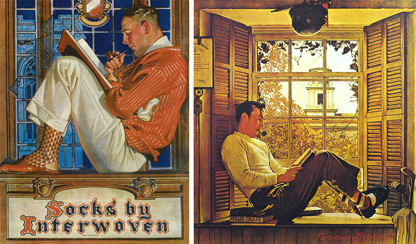 "J.C. Leyendecker's illustration for Interwoven Socks from 1921 and Norman Rockwell's ""G.I. Bill"" from 1947 show striking similarities."